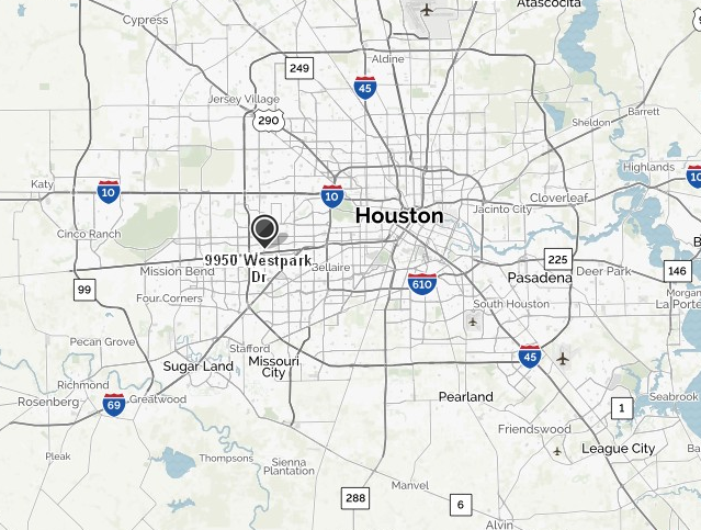 Map of Houston Showing Focus Location